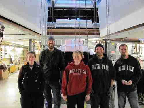 The SPTpol receiver team this year: Amy Bender (McGill), Brad Benson (Chicago), Liz George (Berkeley), Jason Henning (Colorado), Jay Austermann (Colorado).  Not pictured: Tijmen de Haan (McGill).