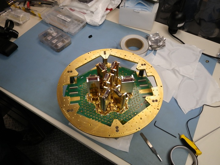 The backside of our focal plane partially assembled.